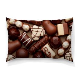 """Подушка 60х40 с полной запечаткой """"Шоколад"""" - конфеты, шоколад, сладости, еда, коричневый"""