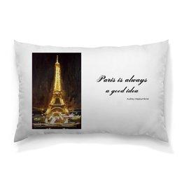 """Подушка 60х40 с полной запечаткой """"Париж"""" - шоколад, париж, одри хепберн, paris, эйфелева башня"""