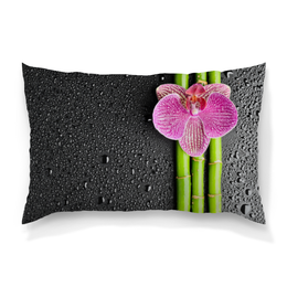 """Подушка 60х40 с полной запечаткой """"Черные капли"""" - арт, цветы, минимализм, орхидея, фактурный"""