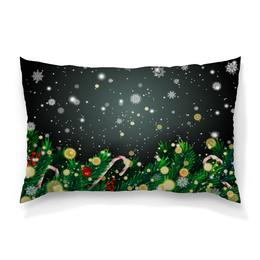 """Подушка 60х40 с полной запечаткой """"Падающий снег"""" - новый год, игрушки, подарки, снежинки, елка"""