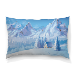 "Подушка 60х40 с полной запечаткой ""Зимний пейзаж"" - снег, зима, пейзаж, природа, картина"