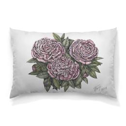 """Подушка 60х40 с полной запечаткой """"Пионы"""" - цветок, природа, розовое, зеленое, графика"""