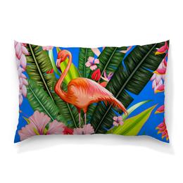 """Подушка 60х40 с полной запечаткой """"Фламинго"""" - фламинго, птица, цветы"""
