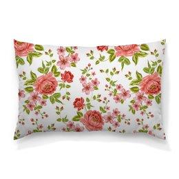 """Подушка 60х40 с полной запечаткой """"Цветы"""" - цветы, розы"""
