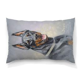 """Подушка 60х40 с полной запечаткой """"Портрет Добермана"""" - арт, портрет, собаки, доберман"""