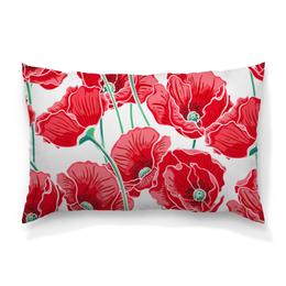 """Подушка 60х40 с полной запечаткой """"Красные маки"""" - цветы, ярко, природа, маки, красивые цветы"""