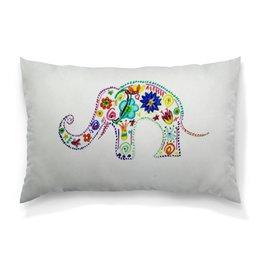 """Подушка 60х40 с полной запечаткой """"Слоник"""" - цветы, счастье, яркий, слоник"""