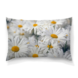 """Подушка 60х40 с полной запечаткой """"Ромашки"""" - цветы, цветок, белый, ромашка, желтый"""