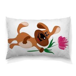 """Подушка 60х40 с полной запечаткой """"Пес держит в лапе цветочек"""" - праздник, цветок, 8 марта, пес, подарок"""