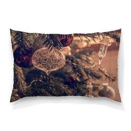 """Подушка 60х40 с полной запечаткой """"Новый год"""" - праздник, новый год, ветки, елка, елочные шары"""