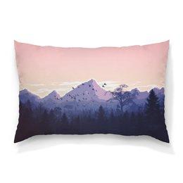 """Подушка 60х40 с полной запечаткой """"Горный пейзаж с лесом."""" - лес, горы, тайга, урал"""
