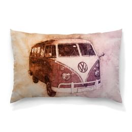 "Подушка 60х40 с полной запечаткой ""I Love VW"" - ретро, car, путешествие, vintage, vw"