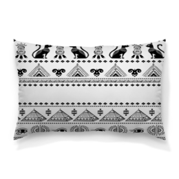 """Подушка 60х40 с полной запечаткой """"Египет"""" - египет, пирамиды, кошка, иероглифы, черно-белые"""