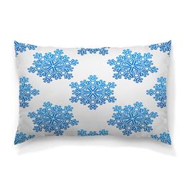 """Подушка 60х40 с полной запечаткой """"Голубые снежинки"""" - новый год, узор, голубой, снег, снежинки"""