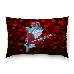 "Подушка 60х40 с полной запечаткой ""Акула"" - спортсмен, красный, краски, рыба, акула"
