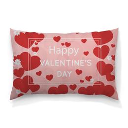 """Подушка 60х40 с полной запечаткой """"Сердечки"""" - любовь, сердца, день святого валентина, 14 февраля, день влюбленных"""