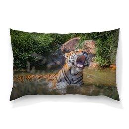 """Подушка 60х40 с полной запечаткой """"Свирепый тигр"""" - тигр, фотография, животное"""