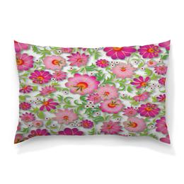 """Подушка 60х40 с полной запечаткой """"Розовые цветы"""" - цветы, весна, розовый, узор, цветочки"""