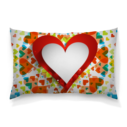"""Подушка 60х40 с полной запечаткой """"День святого Валентина"""" - любовь, сердца, день святого валентина, 14 февраля, день влюблённых"""