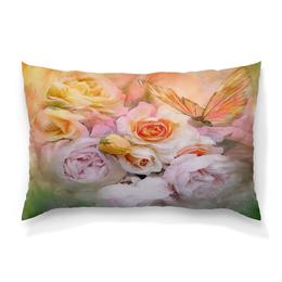 """Подушка 60х40 с полной запечаткой """"Пионы"""" - бабочки, цветы, пионы, розы, букет"""