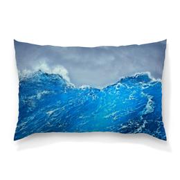 """Подушка 60х40 с полной запечаткой """"Морские волны"""" - море, синий, вода, волны, шторм"""
