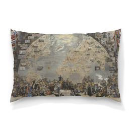 "Подушка 60х40 с полной запечаткой ""Le Tour du Monde en un Clin d'Oeil "" - море, мир, карта, земля, полюс"