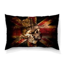 "Подушка 60х40 с полной запечаткой ""Череп конфедерата"" - череп, флаг, розы, united kingdom, флаг конфедерации"