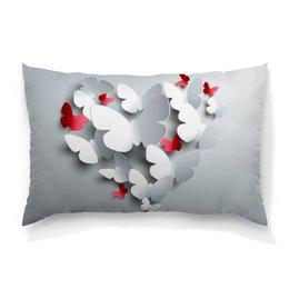 "Подушка 60х40 с полной запечаткой ""Butterflies"" - сердце, бабочки, лето, весна"