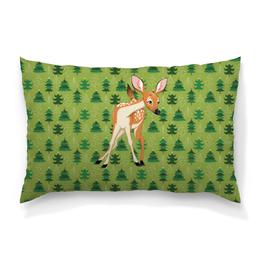 """Подушка 60х40 с полной запечаткой """"Оленёнок"""" - животные, оленёнок, лес, олень"""