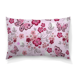 """Подушка 60х40 с полной запечаткой """"Бабочки"""" - бабочки, цветы, розовый фон"""
