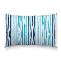 """Подушка 60х40 с полной запечаткой """"Акварельная"""" - узор, голубой, абстрактный, акварельный, волнистый"""