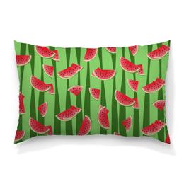 """Подушка 60х40 с полной запечаткой """"Арбуз"""" - полоска, красный, ягода, зеленый, семена"""