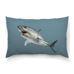 """Подушка 60х40 с полной запечаткой """"Атака хищной акулы."""" - хищник, рыба, акула, подводный, атака"""