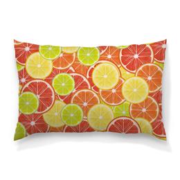 """Подушка 60х40 с полной запечаткой """"Цитрусы"""" - апельсин, лайм, лимон, грейпфрут, дольки"""