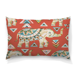 """Подушка 60х40 с полной запечаткой """"Индия"""" - животные, слон, графика, треугольники, индия"""