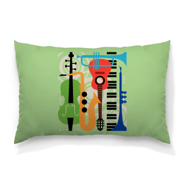 """Подушка 60х40 с полной запечаткой """"Музыкальные инструменты"""" - музыка, гитара, скрипка, инструменты, саксафон"""