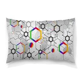 """Подушка 60х40 с полной запечаткой """"Формула"""" - узор, текстура, формула, химия, молекулы"""