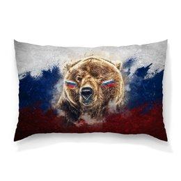 """Подушка 60х40 с полной запечаткой """"Русский Медведь"""" - флаг, триколор, россия, футбол, медведь"""