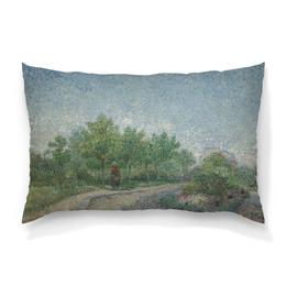 "Подушка 60х40 с полной запечаткой ""Тропинка в парке Аргенсон (Винсент ван Гог)"" - картина, ван гог, живопись"