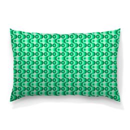 """Подушка 60х40 с полной запечаткой """"Ретро #1"""" - светлый, зеленый, волны, круги, темный"""