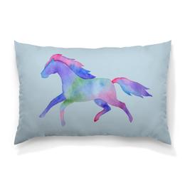 """Подушка 60х40 с полной запечаткой """"Акварельная лошадь"""" - арт, лошадь, horse, акварель, watercolor"""