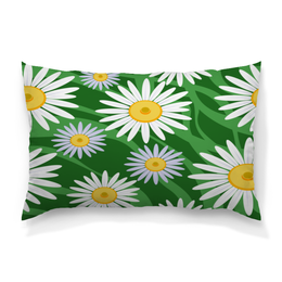 """Подушка 60х40 с полной запечаткой """"Ромашки"""" - цветы, весна, зеленый, природа, ромашки"""