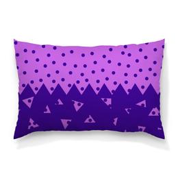 """Подушка 60х40 с полной запечаткой """"Падающие треугольники"""" - сиреневый, фиолетовый, треугольник, горох, половина"""