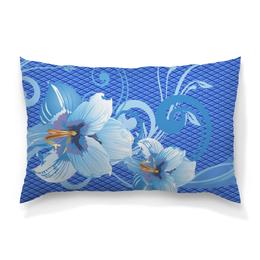 """Подушка 60х40 с полной запечаткой """"Лилии"""" - цветы, голубой, синий, лилия, ромб"""