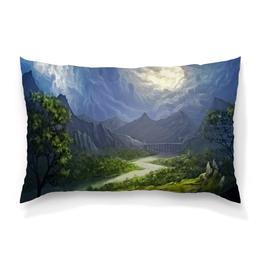 """Подушка 60х40 с полной запечаткой """"Пейзаж красками"""" - природа, лес, река, пейзаж, горы"""