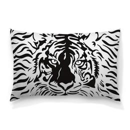 """Подушка 60х40 с полной запечаткой """"Взгляд Тигра"""" - рисунок, взгляд, графика, тигр, чёрное и белое"""