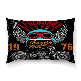 """Подушка 60х40 с полной запечаткой """"Legendary riders"""" - крылья, мотоцикл, скорость, транспорт, гонщик"""
