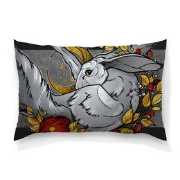 """Подушка 60х40 с полной запечаткой """"Moon rabbit"""" - золото, луна, кролик, rabbit, gold"""