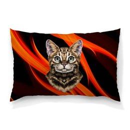 """Подушка 60х40 с полной запечаткой """"Без названия"""" - кот, животные, котенок, огонь, пламя"""