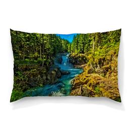 """Подушка 60х40 с полной запечаткой """"Лесной пейзаж"""" - природа, горы, река, деревья, пейзаж"""